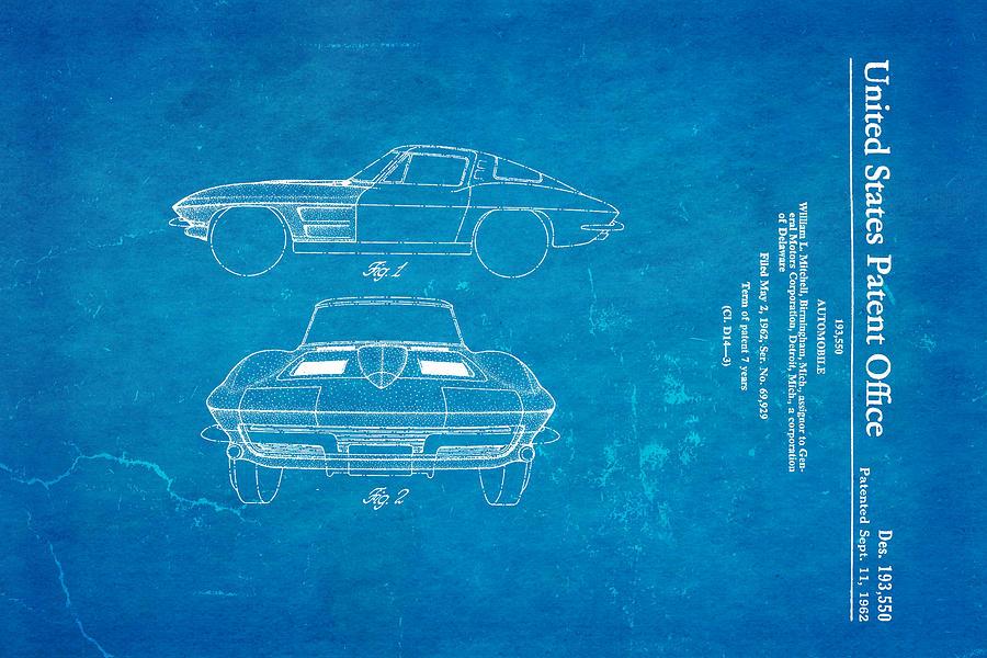 63 corvette stingray patent art 1962 blueprint photograph by ian monk automotive photograph 63 corvette stingray patent art 1962 blueprint by ian monk malvernweather Images