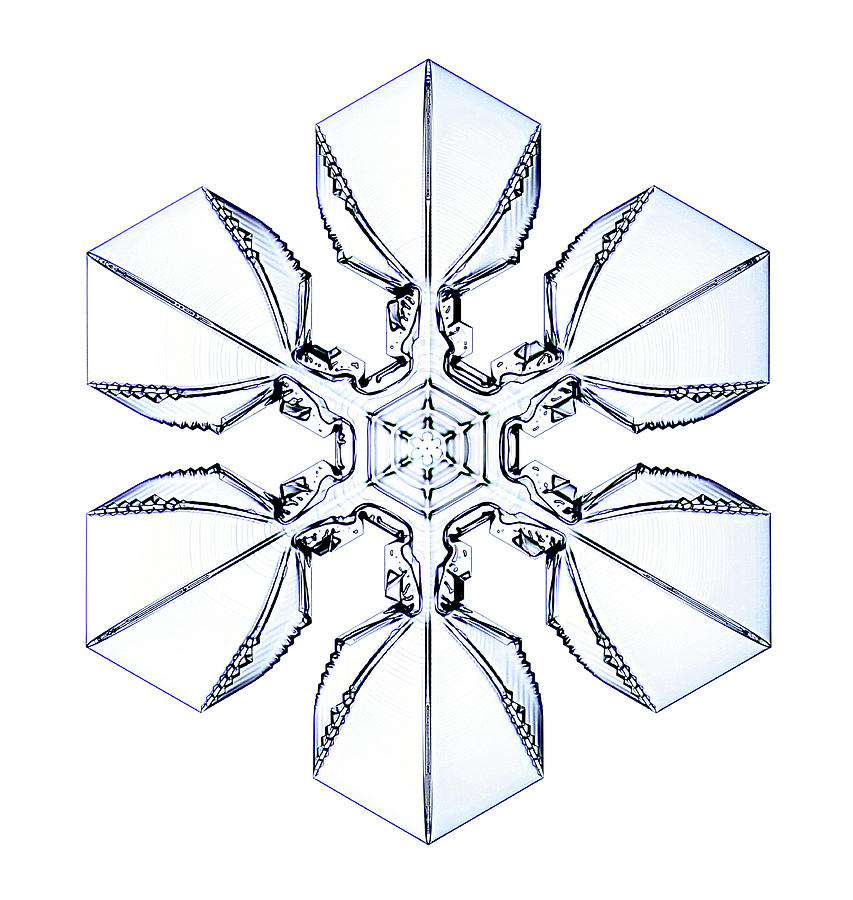 White Background Photograph - Snowflake by Kenneth Libbrecht