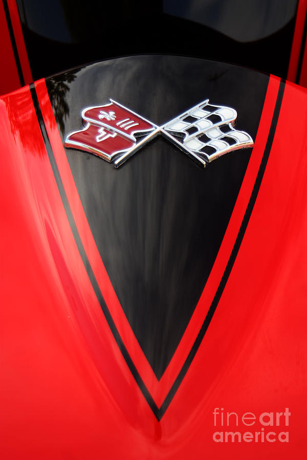 Corvette Photograph - 65 Sting Ray-torch Red-hood-8785 by Gary Gingrich Galleries