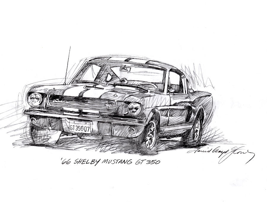 Mustang Drawing - 66 Shelby 350 Gt by David Lloyd Glover