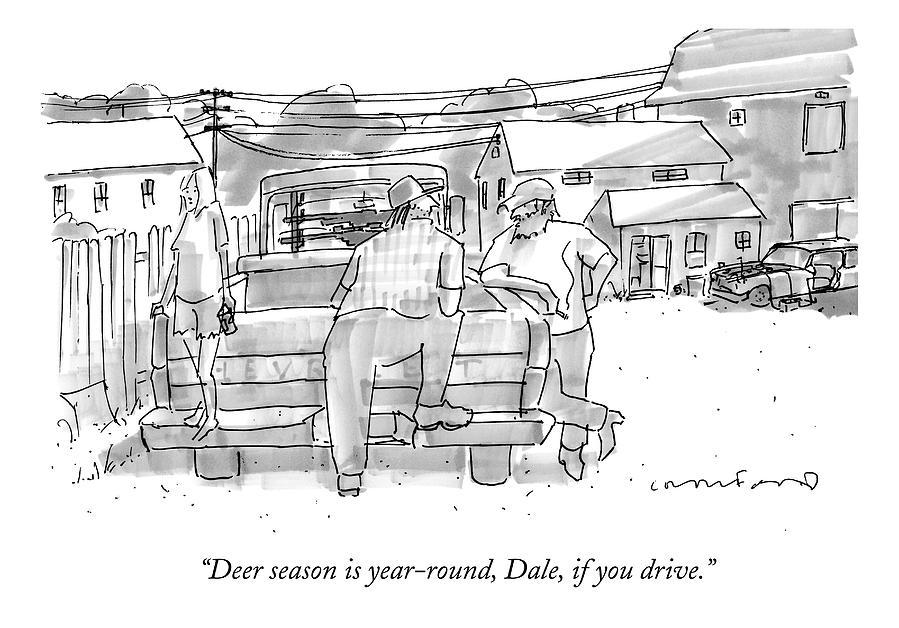 Deer Season Is Year-round Drawing by Michael Crawford