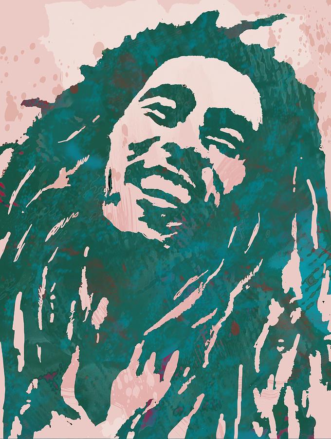 Bob Marley Stylised Pop Art Drawing Potrait Poser Drawing