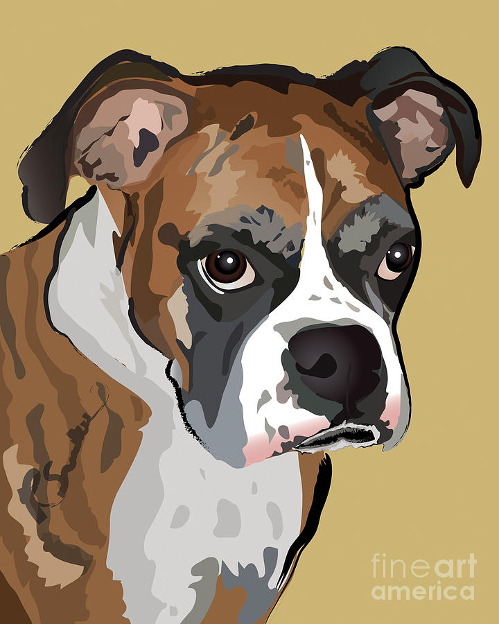 Boxer Dog Painting - Boxer Dog Portrait by Robyn Saunders