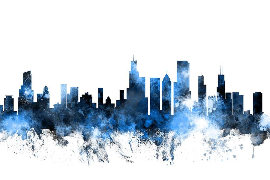 Chicago Illinois Skyline Digital Art by Michael Tompsett
