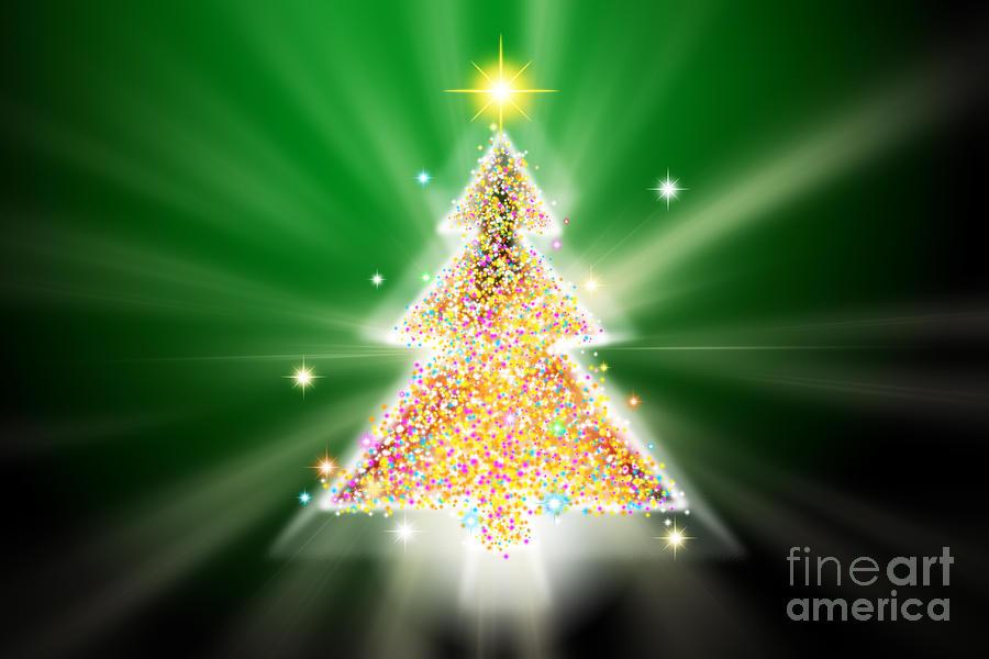 Backdrop Digital Art - Christmas Tree by Atiketta Sangasaeng