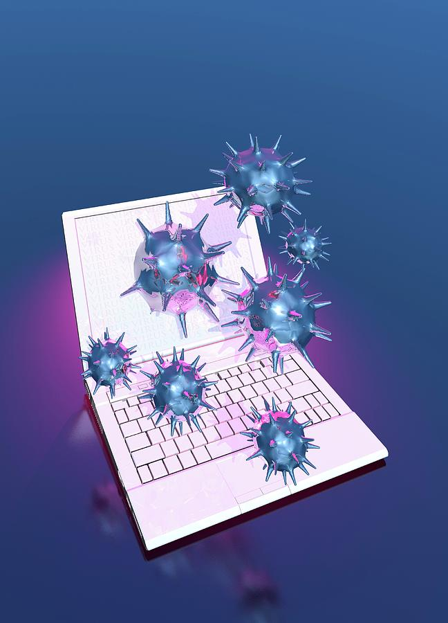 Illustration Photograph - Computer Virus by Victor Habbick Visions/science Photo Library