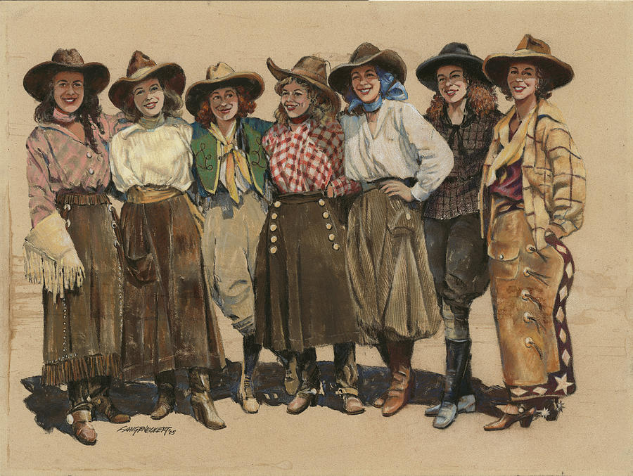 7 Cowgirls - Old Time 1920's Painting by Don Langeneckert