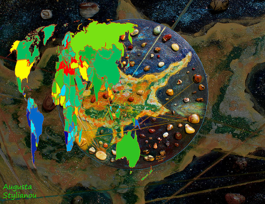 World Map Digital Art - Cyprus And World Map  by Augusta Stylianou
