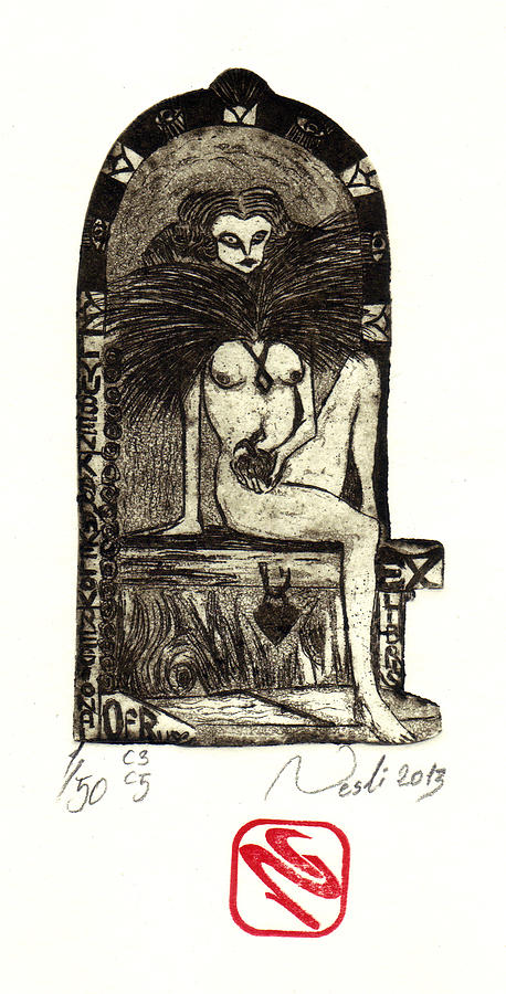 Printmaking Painting - Exlibris by Nesli Sisli