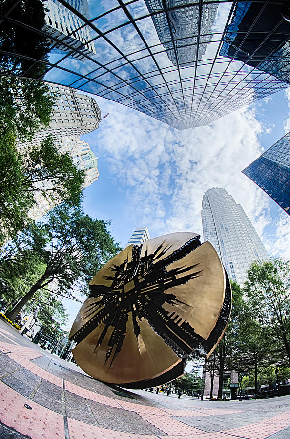 North Photograph - Financial Skyscraper Buildings In Charlotte North Carolina Usa by Alex Grichenko