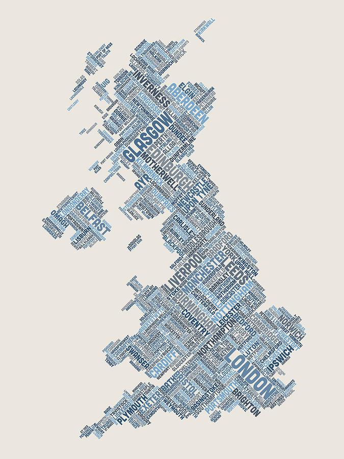 United Kingdom Digital Art - Great Britain Uk City Text Map by Michael Tompsett