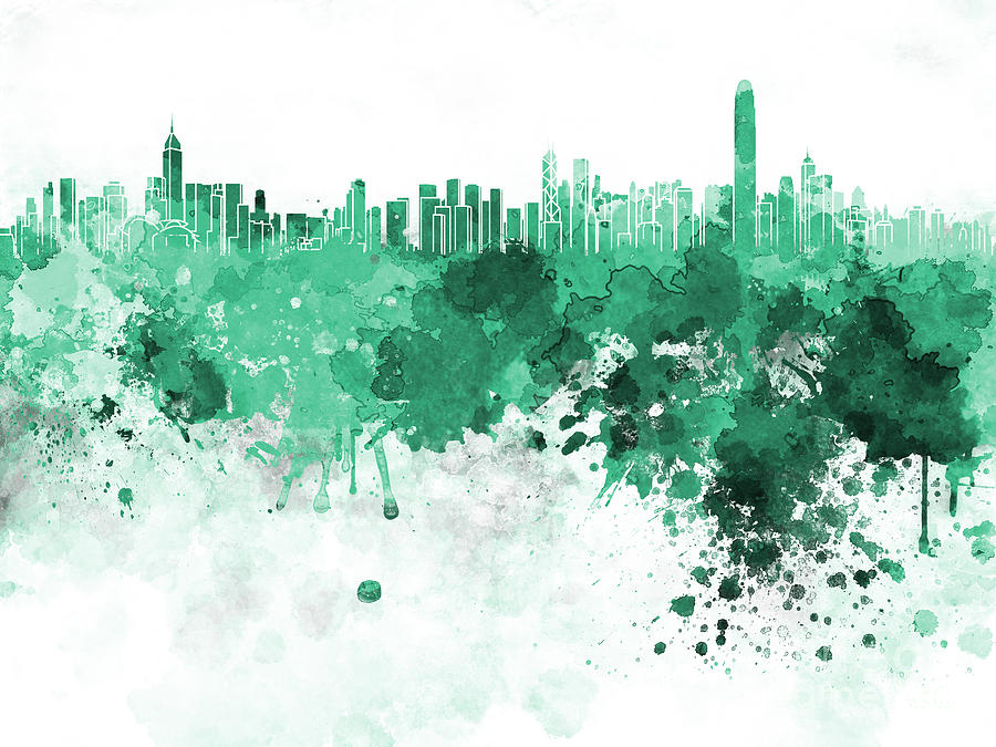 Hong Kong Skyline In Watercolor On White Background