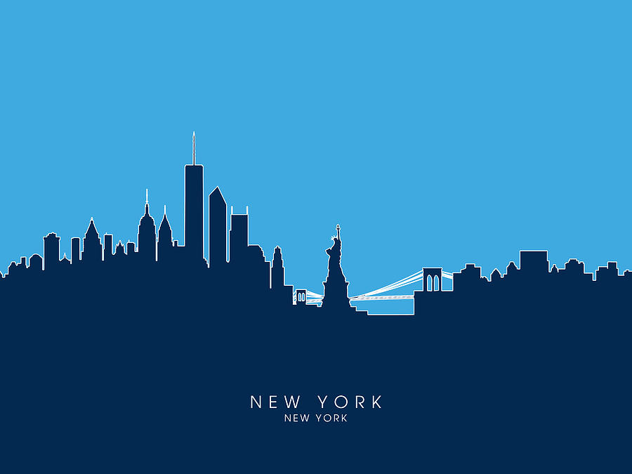 United States Digital Art - New York Skyline by Michael Tompsett
