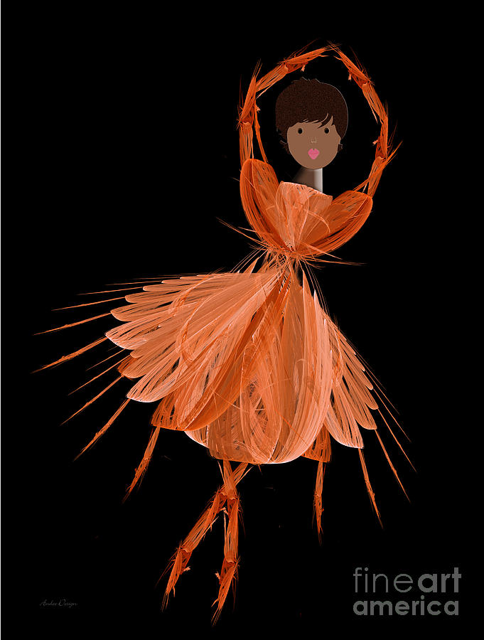 Ballerina Digital Art - 7 Orange Ballerina by Andee Design