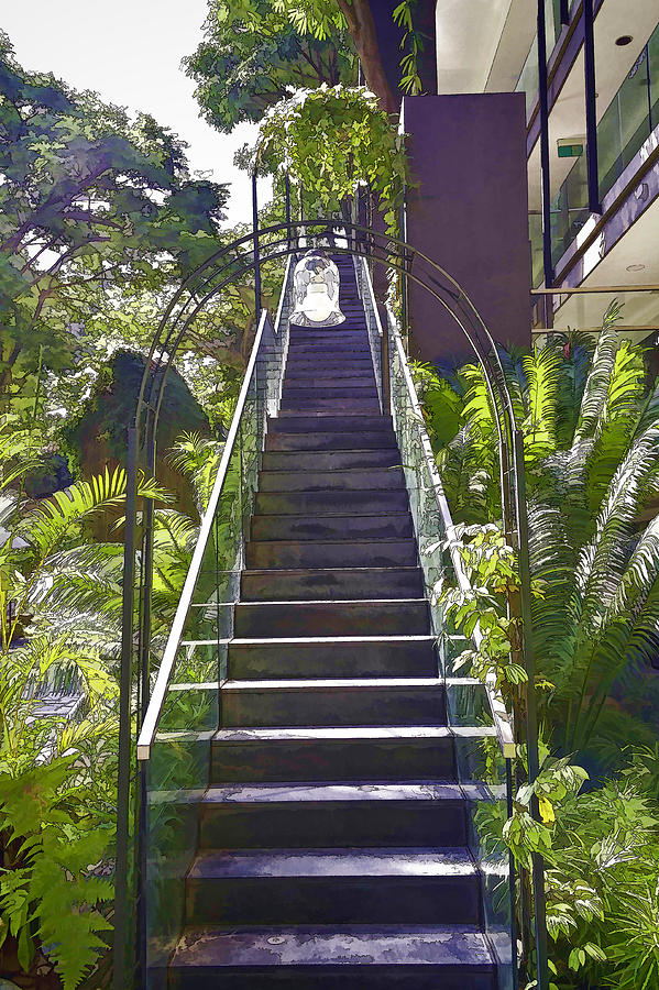 Asia Photograph - Staircase Leading To A Higher Level In Siloso Hotel In Sentosa by Ashish Agarwal