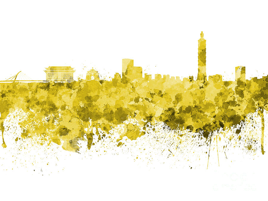 Taipei skyline in watercolor on white background Painting by Pablo Romero