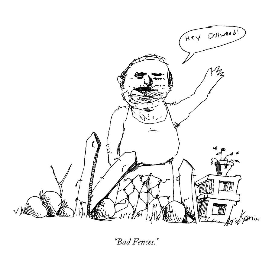 Bad Fences Drawing by Zachary Kanin