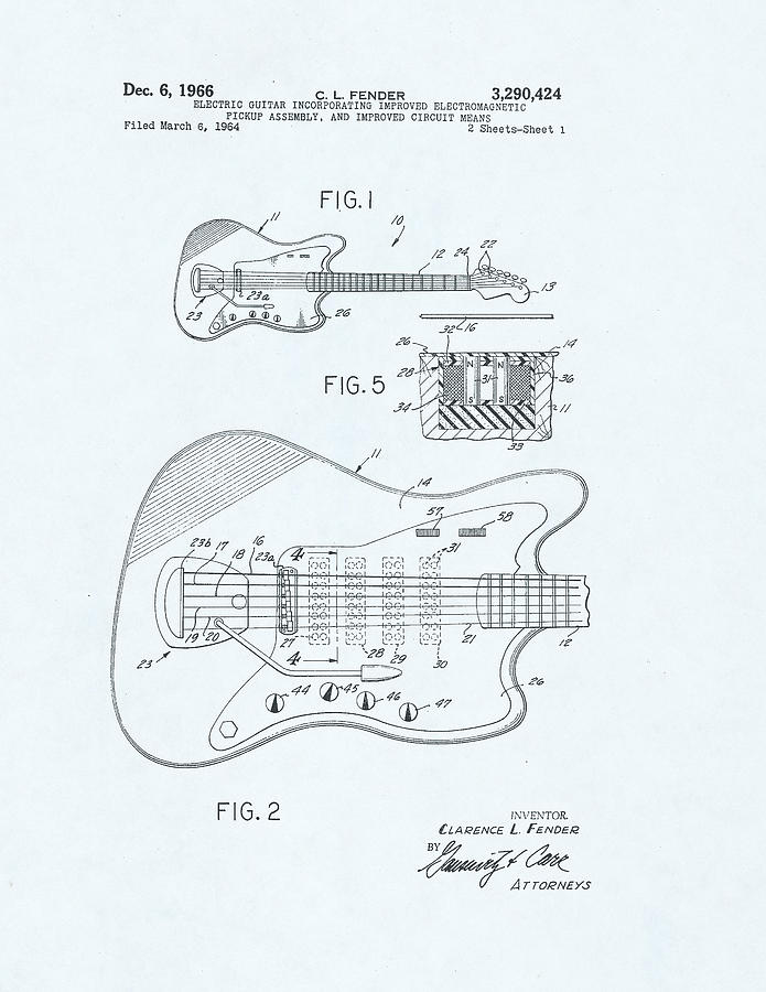 Guitar Patent Drawing On Blue Background Drawing By Steve Kearns