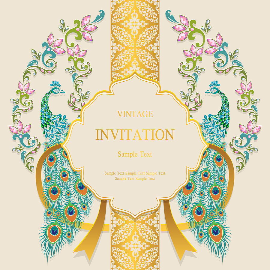 Wedding Invitation Card Templates With Gold Peacock Feathers Patterned And Crystals On Paper Color Background
