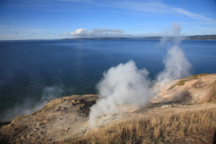 America Photograph - Yellowstone Lake And Geysers by Frank Romeo