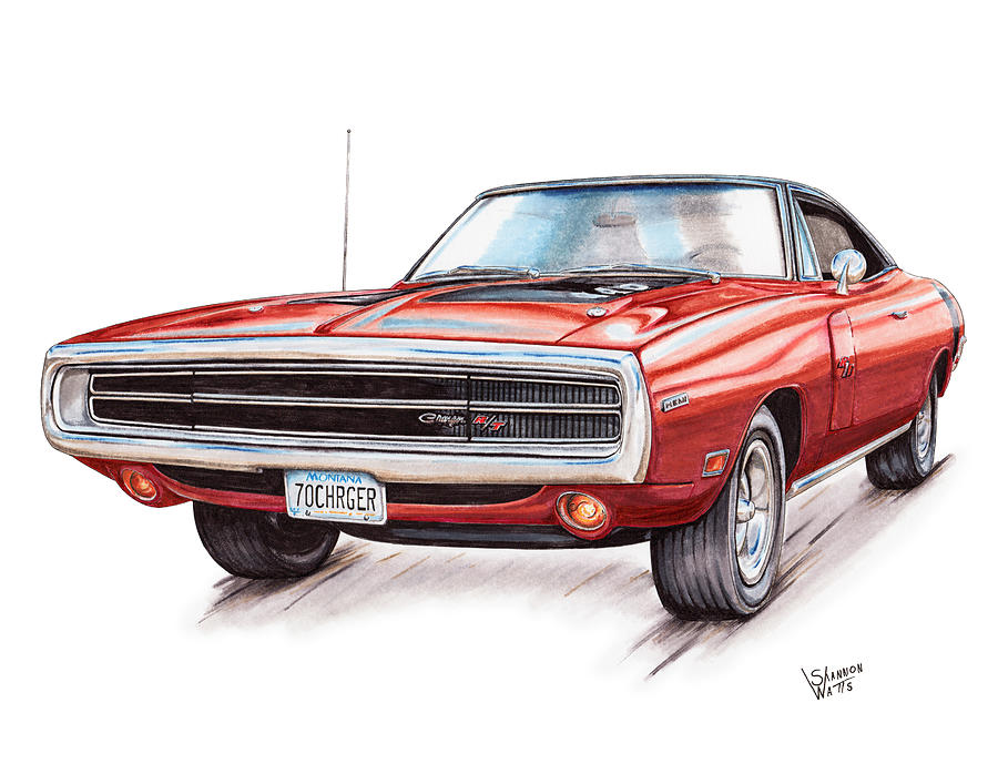 70 Dodge Charger Rt Drawing By Shannon Watts