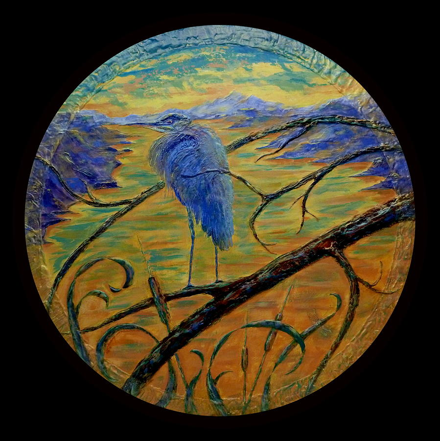 Blue Heron Painting - Earth Light Series  by Len Sodenkamp