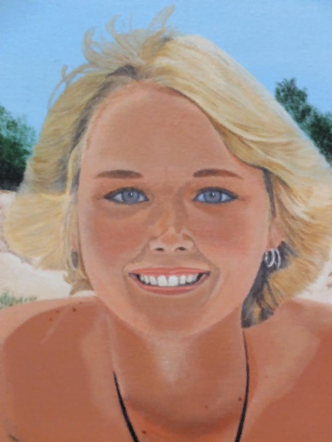 Beach Painting - 70s Girl On The Beach by Scott Kingery