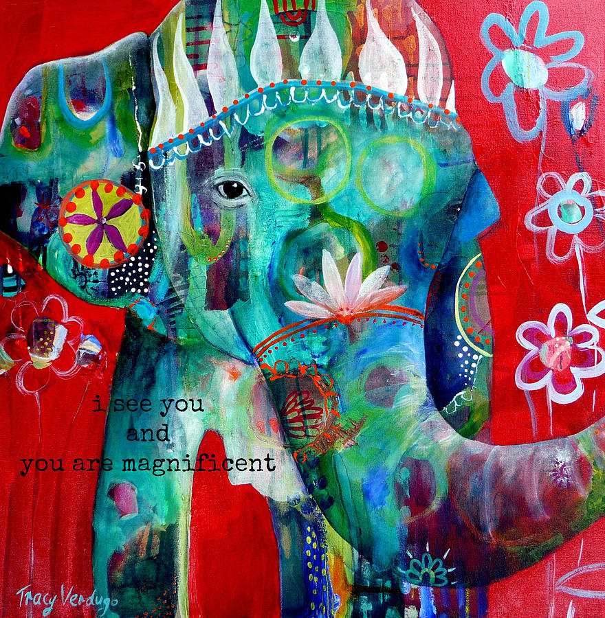Elephant Photograph - I see you  by Tracy Verdugo