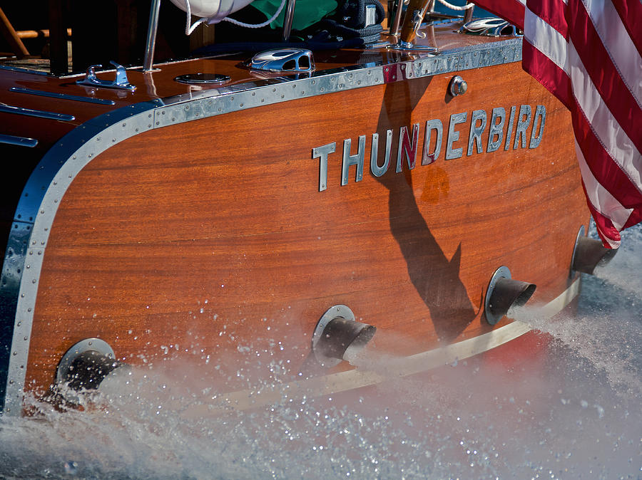 Classic Wooden Boat Photograph - Thunderbird by Steven Lapkin