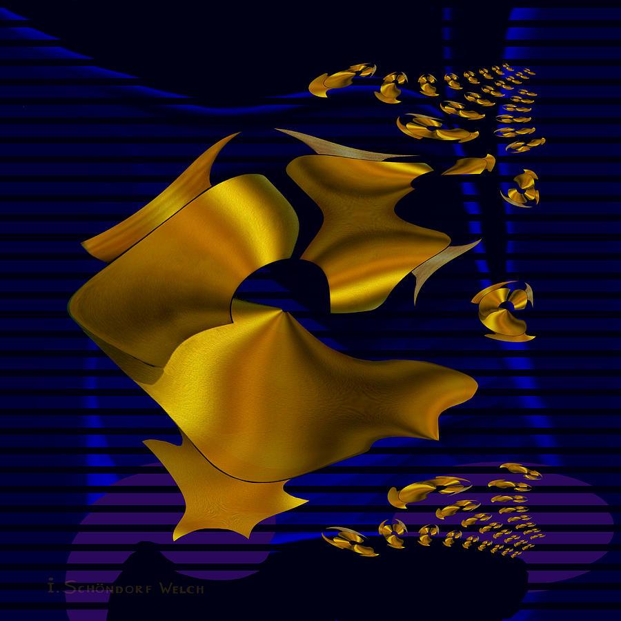 780 Digital Art - 780 - Golden Foil by Irmgard Schoendorf Welch