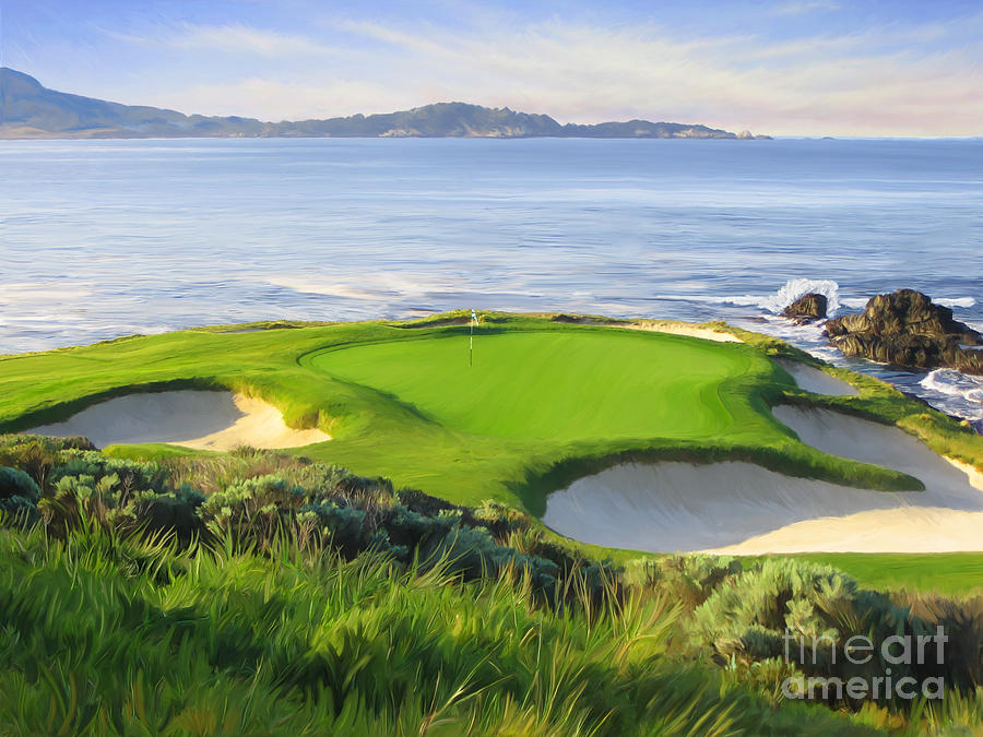 Pebble Beach Painting - 7th Hole At Pebble Beach by Tim Gilliland