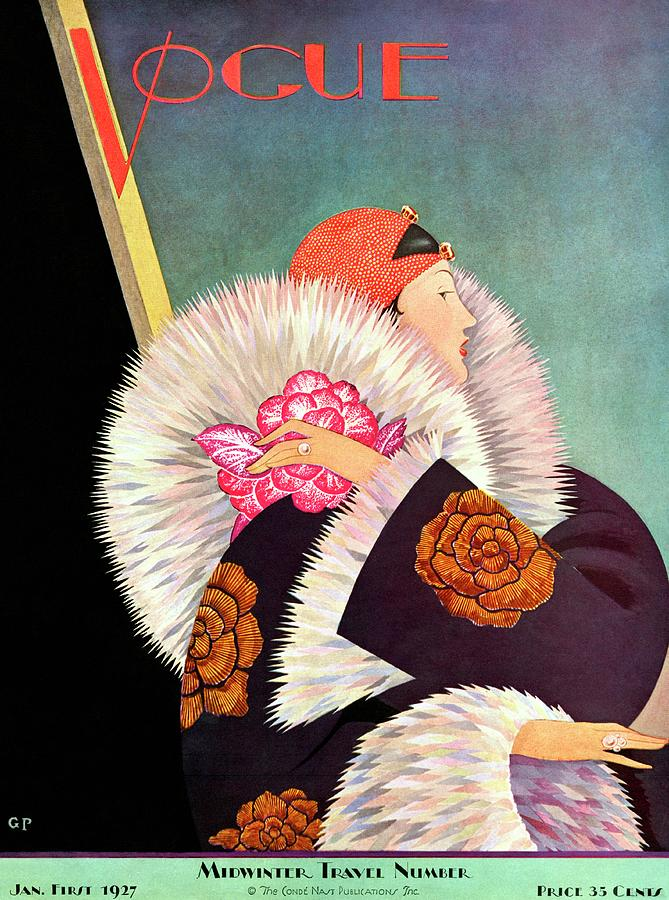 A Vintage Vogue Magazine Cover Of A Woman Photograph by George Wolfe Plank