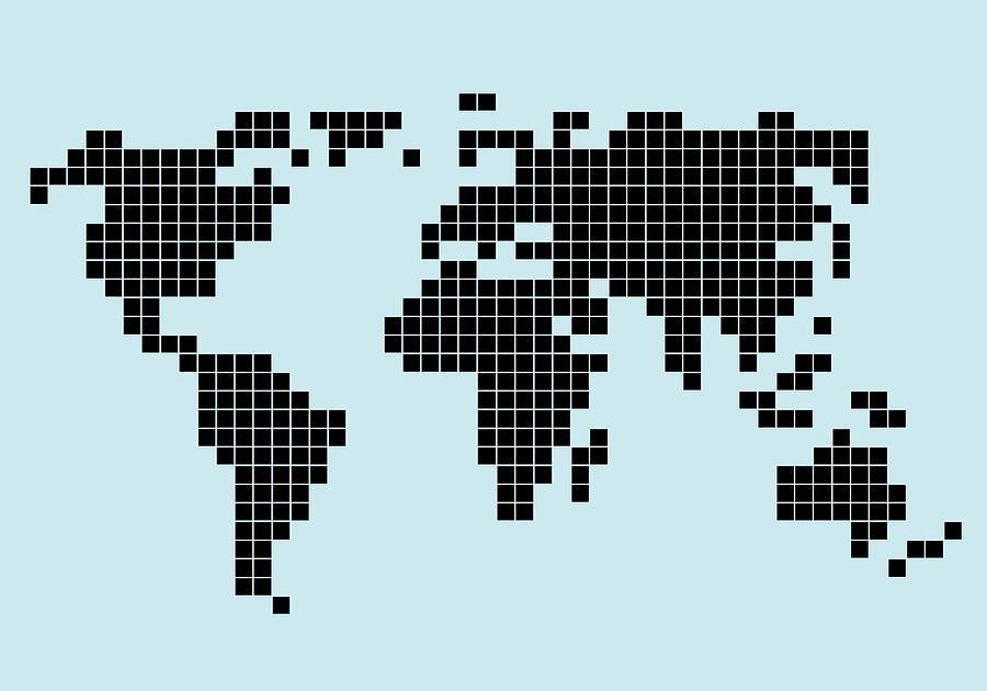 8-bit Style World Map Digital Art by Malte Mueller