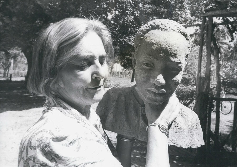 Retro Photograph - British-born Sculptress Completes Bust Of President Nyerere by Retro Images Archive
