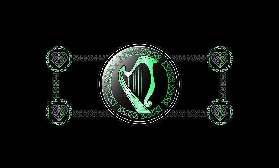 Celtic Digital Art - Celtic Harp by Ireland Calling