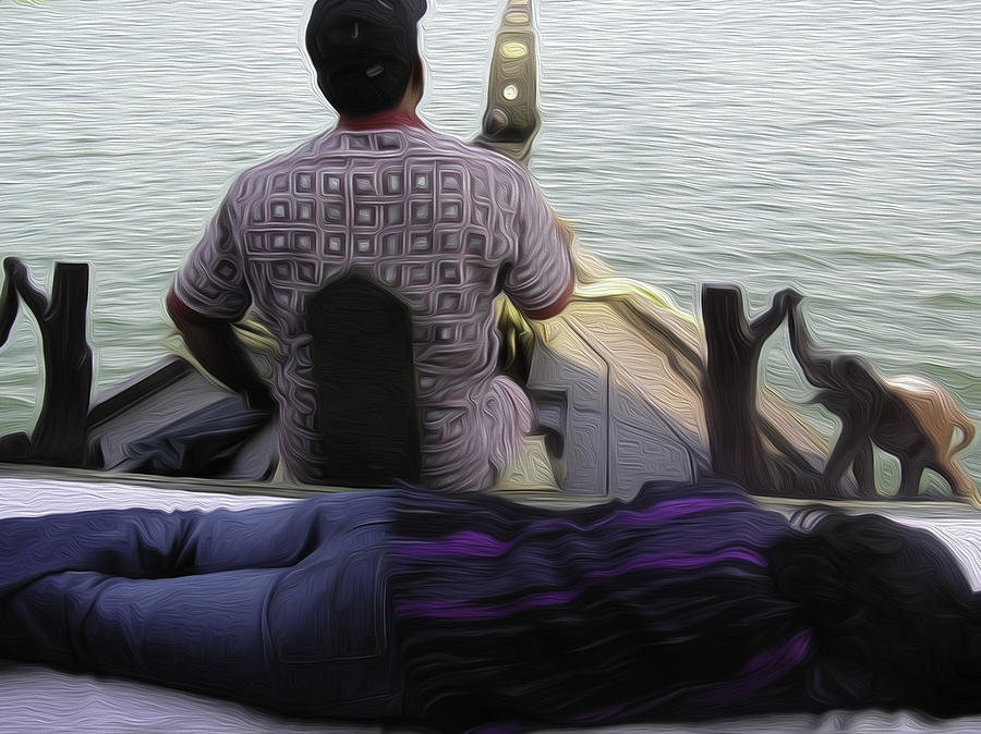 Boat Digital Art - Lady Sleeping While Boatman Steers by Ashish Agarwal