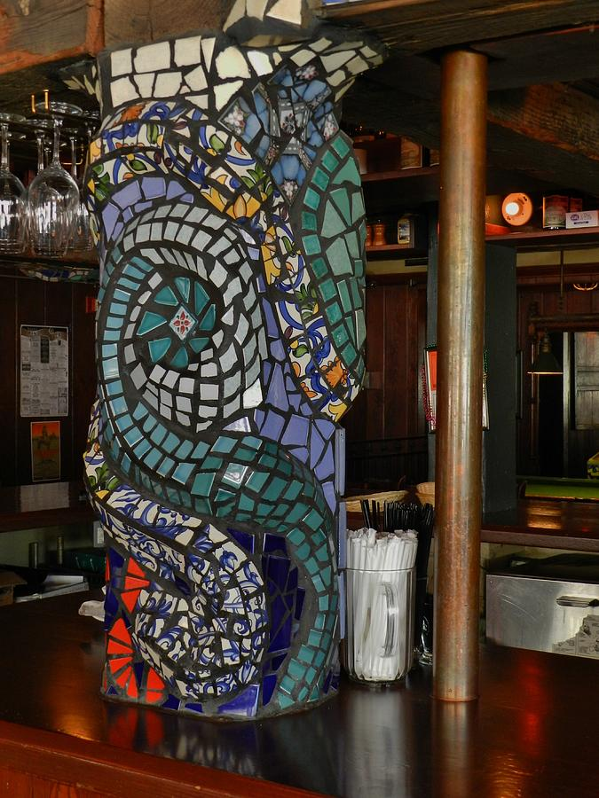 Mosaic Pillar Ceramic Art by Charles Lucas