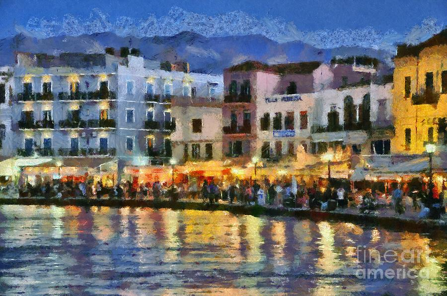 Painting Of The Old Port Of Chania Painting by George Atsametakis