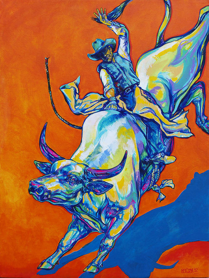 Cowboy Painting - 8 Second Insanity by Derrick Higgins
