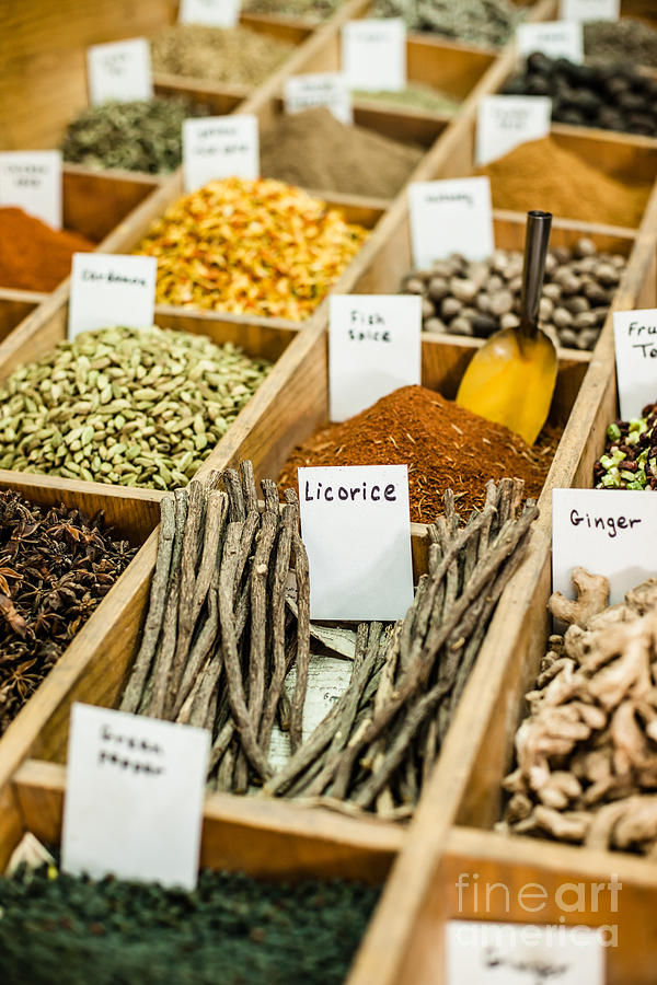 Spices On Display In Open Market In Israel. Photograph