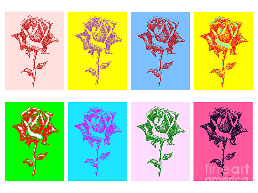 Black Painting - 8 Warhol Roses By Punt by Gordon Punt