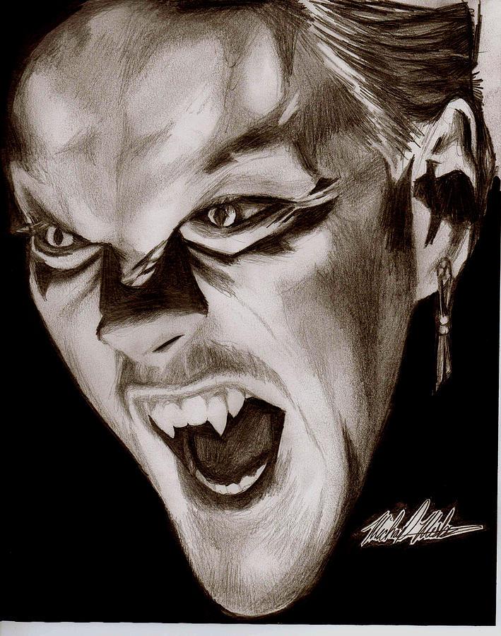Kiefer Sutherland Drawing - 80s Vampire by Michael Mestas