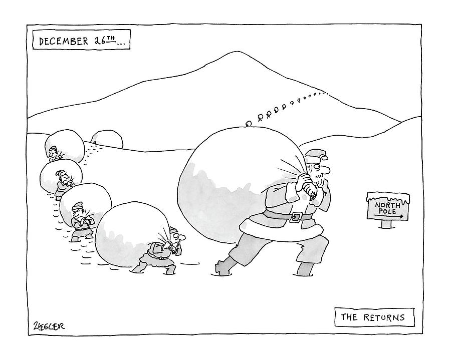 January 3rd Drawing - December 26th . . . The Returns by Jack Ziegler