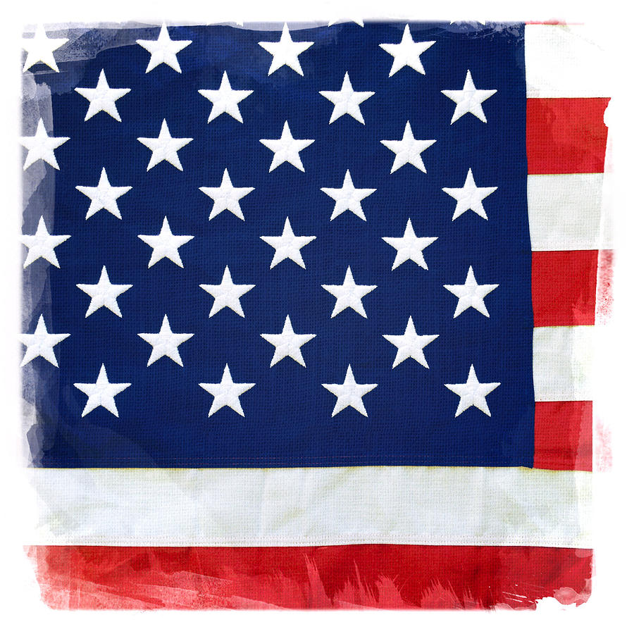 Closeup Photograph - American Flag by Les Cunliffe