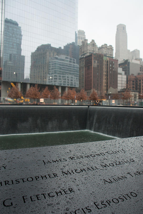 911 Memorial Photograph - 8458 Names And Reflections by Deidre Elzer-Lento