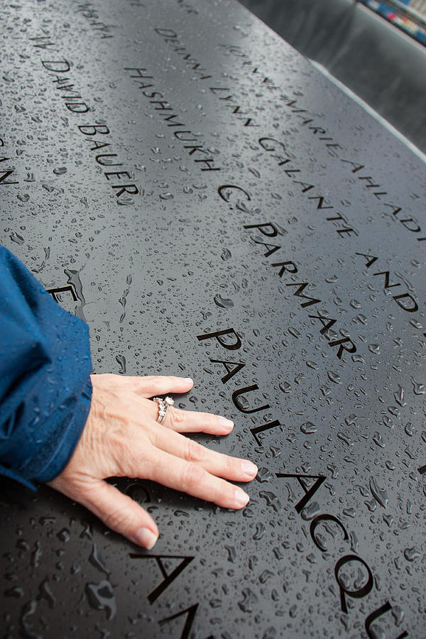 911 Memorial Photograph - 8462 911 Memorial A Touch Of A Hand by Deidre Elzer-Lento