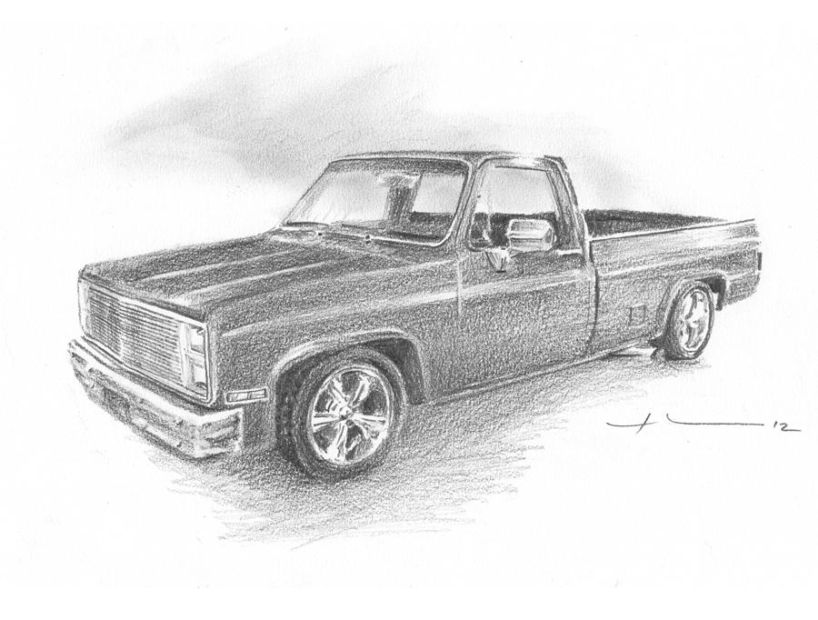 86 chevy truck pencil portrait drawing by mike theuer
