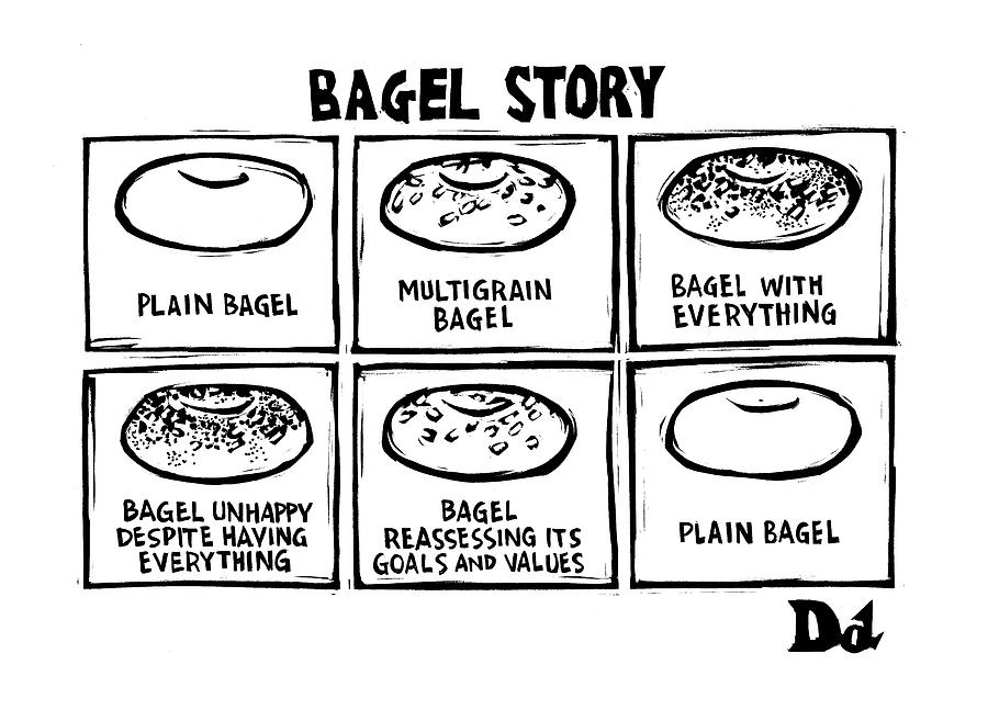 Bagels Drawing - New Yorker January 28th, 2008 by Drew Dernavich