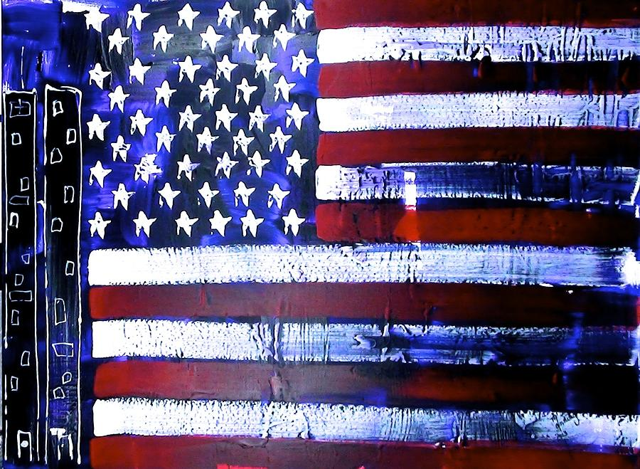 Abstract Painting - 9-11 Flag by Richard Sean Manning