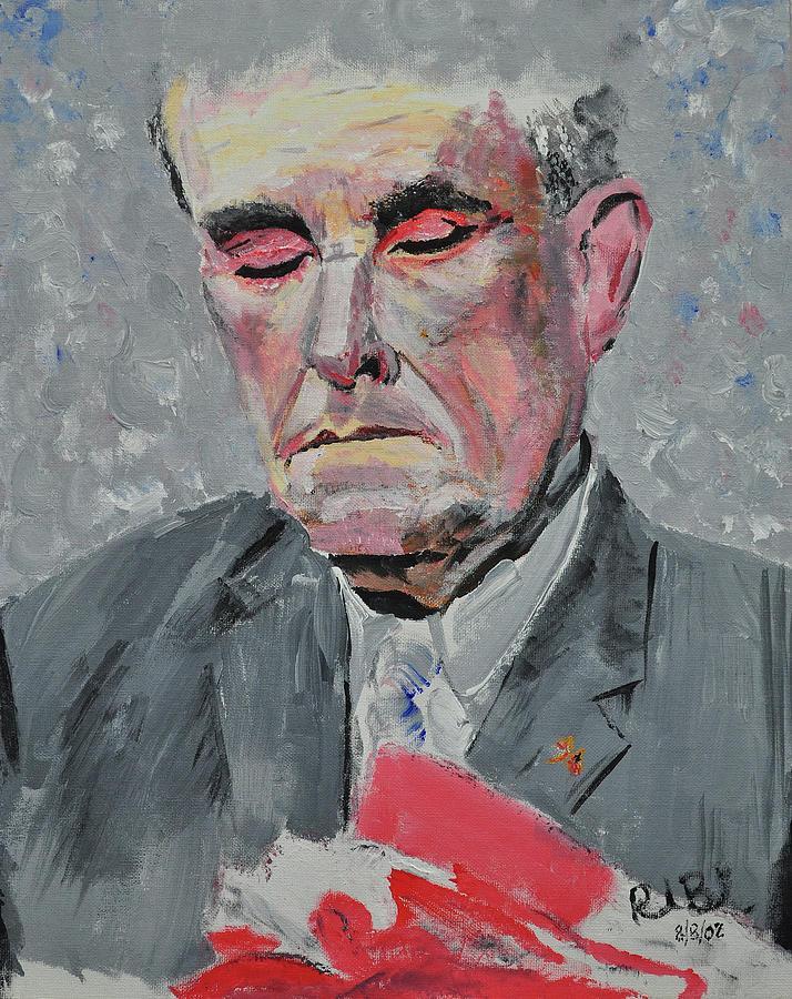 9-11 Painting - 9-11 Mayor Giuliani by Ruben Barbosa